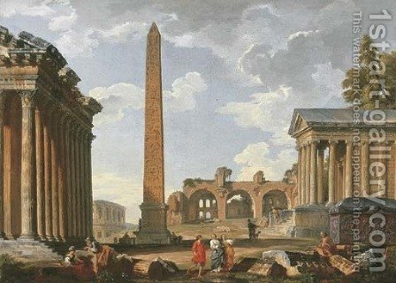 A Capriccio of classical ruins by Giovanni Paolo Panini - Reproduction Oil Painting