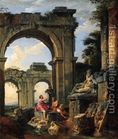 A capriccio of classical ruins with three figures conversing before a statue of a River God by Giovanni Paolo Panini - Reproduction Oil Painting