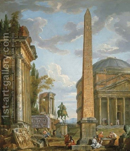 A capriccio with figures gathered around the Obelisk of Augustus, a view of the Pantheon, the Statue of Marcus Aurelius and the Temple of Sybil, Tivol by Giovanni Paolo Panini - Reproduction Oil Painting