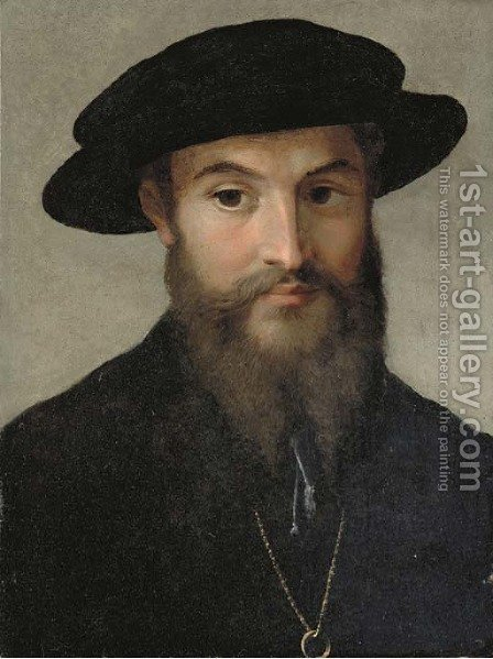 Portrait of a bearded man, bust-length, in a black hat, wearing a gold chain with a ring by Girolamo Francesco Maria Mazzola (Parmigianino) - Reproduction Oil Painting