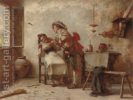 A distraction from chores by Giuseppe Bortignoni - Reproduction Oil Painting