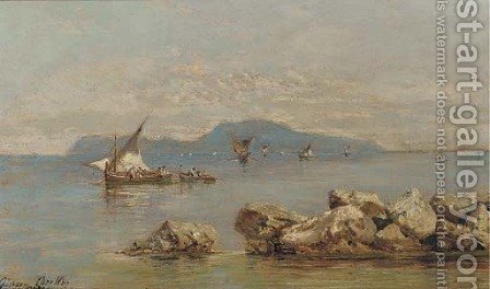 Fishing boats off Capri by Giuseppe Carelli - Reproduction Oil Painting