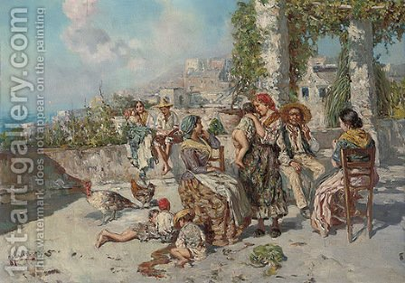 A family gathering, Naples by Giuseppe Giardiello - Reproduction Oil Painting
