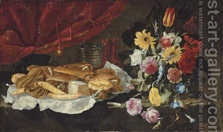 Roses, carnations, tulips and other flowers in a glass vase, with pastries and sweetmeats on a pewter platter, on a stone ledge by Giuseppe Recco - Reproduction Oil Painting