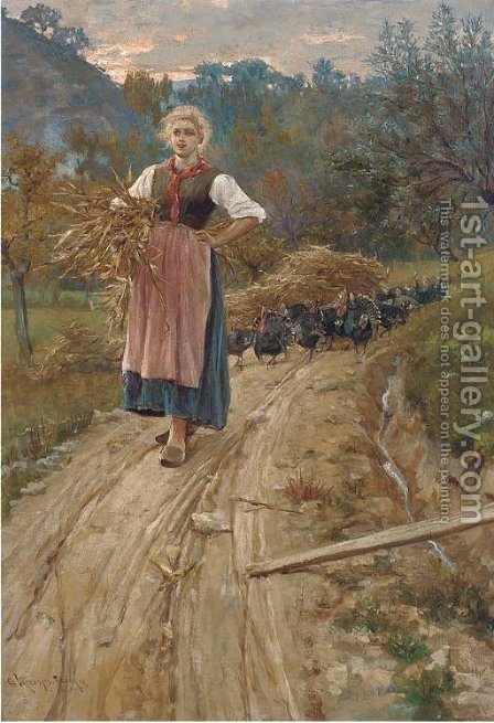 The road home at dusk by Giuseppe Vizzotto Alberti - Reproduction Oil Painting