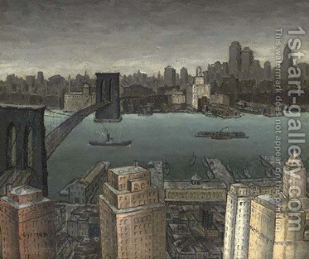 Brooklyn Skyline by Glenn O Coleman - Reproduction Oil Painting