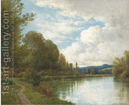 A tranquil river landscape by Gordon Arthur Meadows - Reproduction Oil Painting