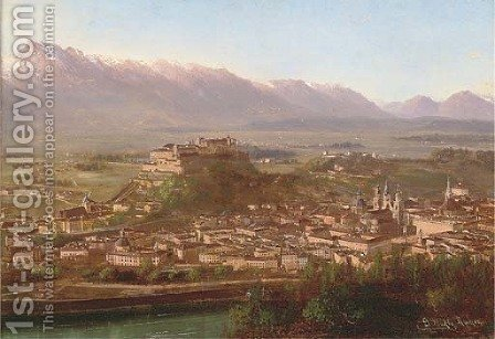 View over Salzburg, Austria by Gottfried Stahli-Rychen - Reproduction Oil Painting