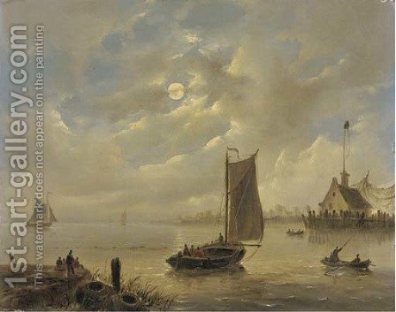 Approaching a harbour town by moonlight by Govert Van Emmerik - Reproduction Oil Painting