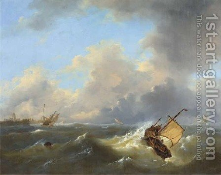 Shipping on a choppy sea by a coast by Govert Van Emmerik - Reproduction Oil Painting