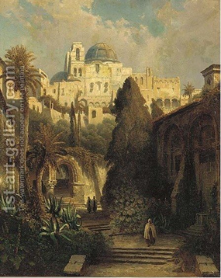 A garden below a mosque by Greek School - Reproduction Oil Painting