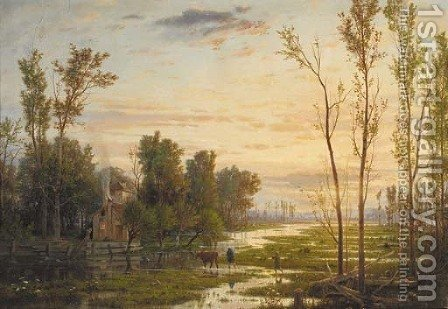 Neatherds returning home in a river landscape by Guido Carmignani - Reproduction Oil Painting