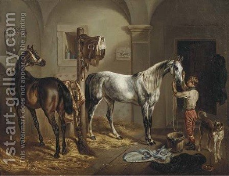 Tending to the horses by Gustav Adolf Friedrich - Reproduction Oil Painting