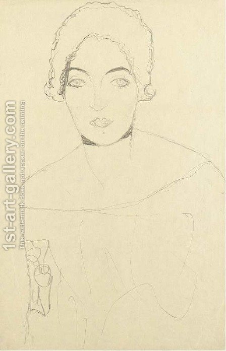Brustbild einer Dame von vorne by Gustav Klimt - Reproduction Oil Painting