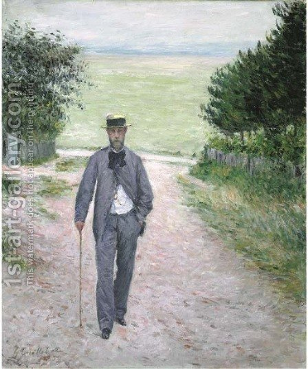 Promeneur au bord de la mer by Gustave Caillebotte - Reproduction Oil Painting