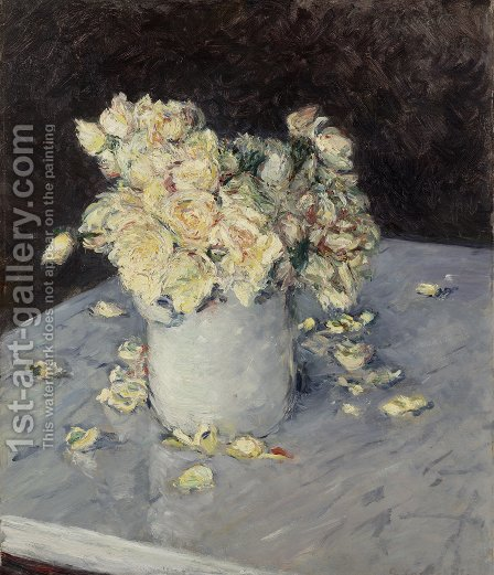 Roses jaunes dans un vase by Gustave Caillebotte - Reproduction Oil Painting