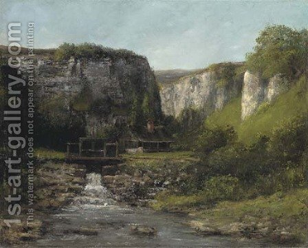 Jura Landscape with a Watermill by Gustave Courbet - Reproduction Oil Painting