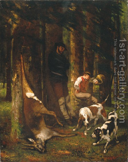 L'Hallali or La Curee (The Quarry) by Gustave Courbet - Reproduction Oil Painting