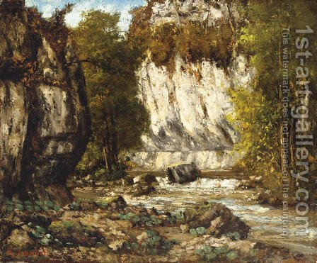 Riviere et falaise by Gustave Courbet - Reproduction Oil Painting