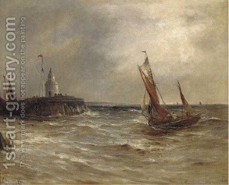 Running into harbour by Gustave de Breanski - Reproduction Oil Painting