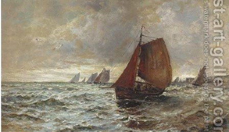 The fishing fleet heading out to sea by Gustave de Breanski - Reproduction Oil Painting