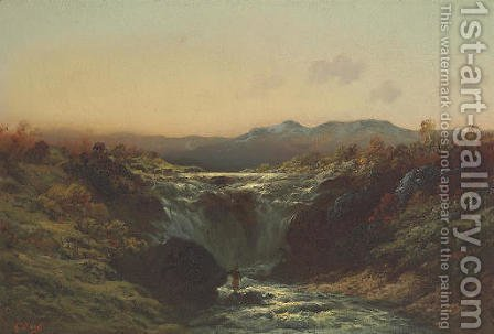 A Mountain Torrent in the Highlands by Gustave Dore - Reproduction Oil Painting