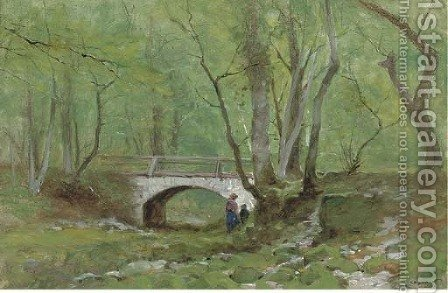 A woodland walk by Gustave Castan - Reproduction Oil Painting