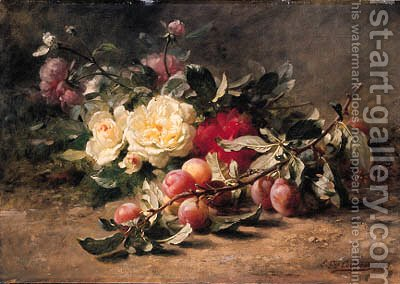 Peonies and Plums by Gustave-Emile Couder - Reproduction Oil Painting
