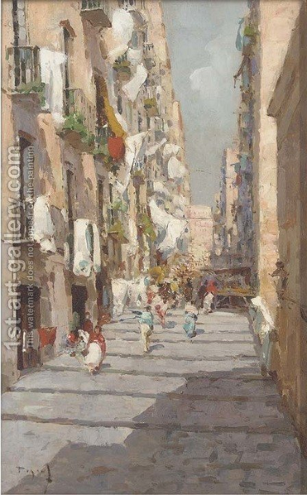 Neapolitan street scene by Gustavo Pisano - Reproduction Oil Painting