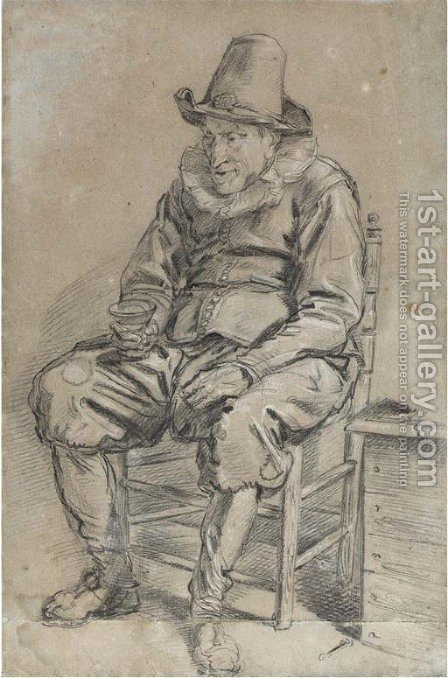 A seated man wearing a hat holding a roemer by Haarlem School - Reproduction Oil Painting