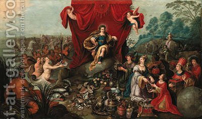 Apollo enthroned, presented with the gifts of the Continents and Oceans by Hans III Jordaens - Reproduction Oil Painting