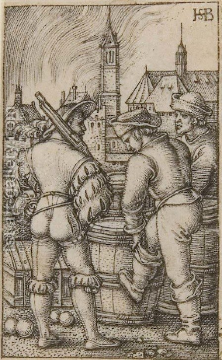 The Guard near the Powder Casks by Hans Sebald Beham - Reproduction Oil Painting