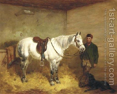 A saddled grey pony and groom in a stable with a retriever by Harry Hall - Reproduction Oil Painting