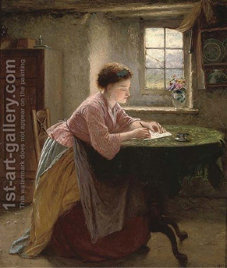 The letter writer by Haynes King - Reproduction Oil Painting