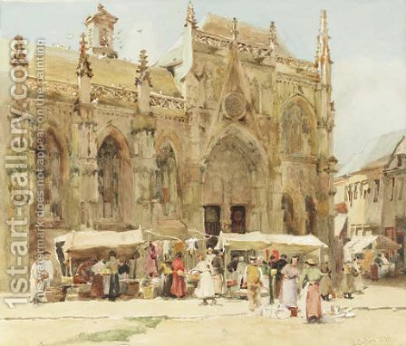 Market scene by Hector Caffieri - Reproduction Oil Painting