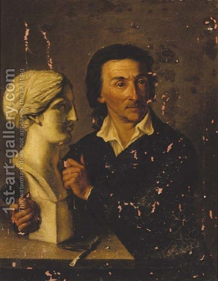 Hermann David Solomon Corrodi: Portrait of a sculptor, said to be Bertel Thorwaldson - reproduction oil painting