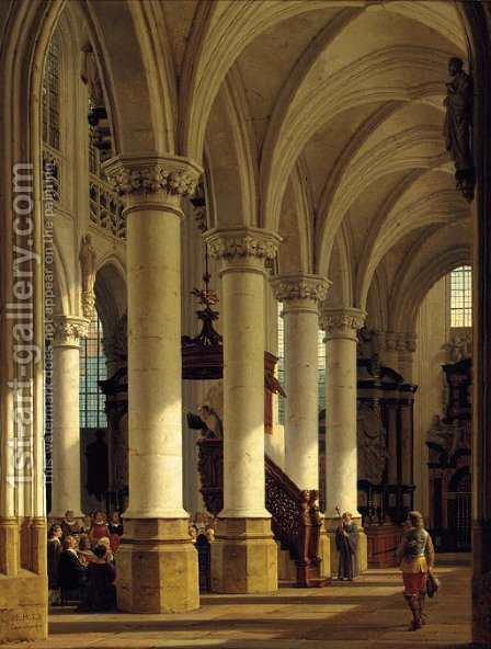 A church interior by Heinrich Hanson - Reproduction Oil Painting
