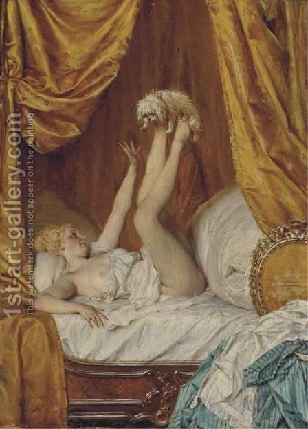 A precarious game by Heinrich Lossow - Reproduction Oil Painting