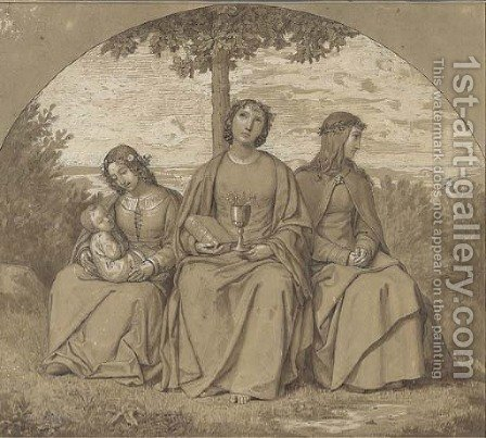 Allegories of Faith, Hope and Charity by Heinrich Maria von Hess - Reproduction Oil Painting