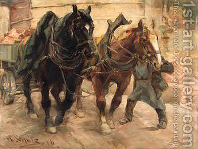 Loading the Wagon by Heinrich Schutz - Reproduction Oil Painting