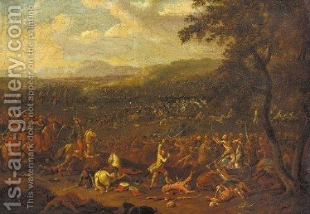In the midst of battle by Heinrich Van Waterschoodt - Reproduction Oil Painting