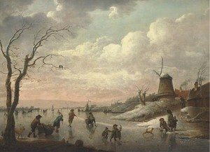 A winter landscape with peasants skating on a frozen river by a village with a windmill