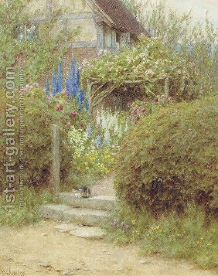 A Cottage Gate, West Horsley, Surrey by Helen Mary Elizabeth Allingham, R.W.S. - Reproduction Oil Painting