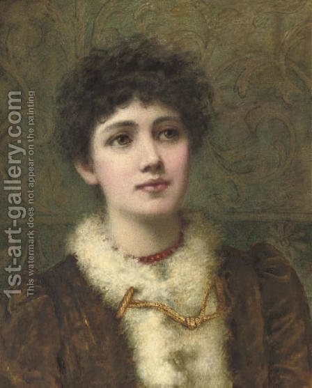 Portrait of a lady, bust-length, wearing a red bead necklace by Helen Jackson - Reproduction Oil Painting