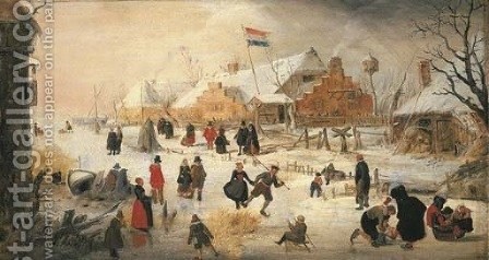 A winter landscape with elegant figures skating on a frozen river by Hendrick Avercamp - Reproduction Oil Painting