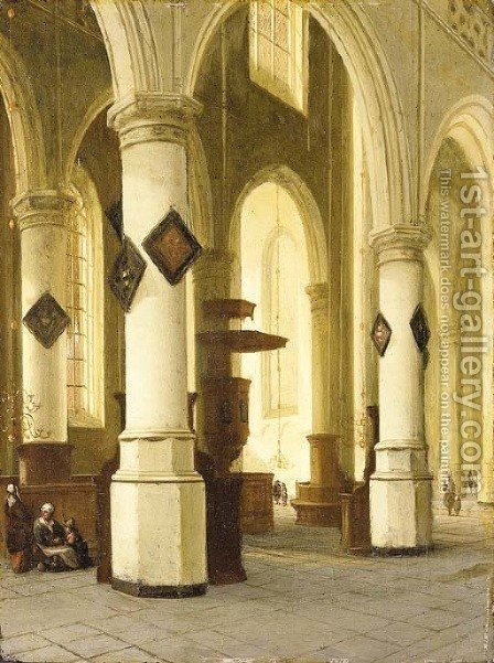 The interior of a church by Hendrick Van Vliet - Reproduction Oil Painting
