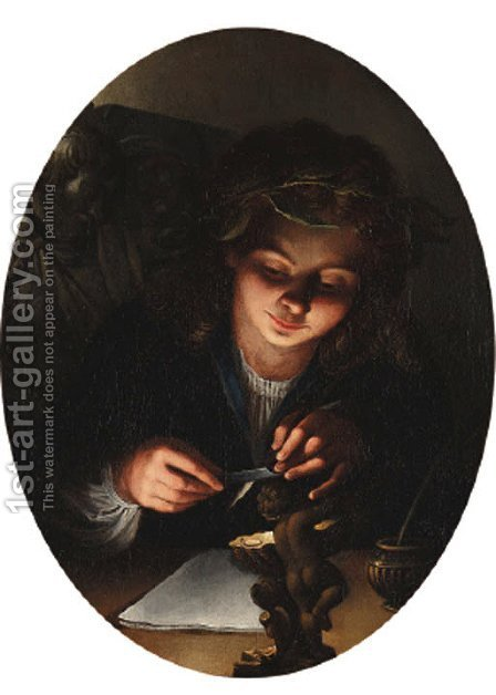 A  personification of poetry by candlelight by Heindrich Coster - Reproduction Oil Painting