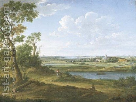 An extensive river landscape with a horseman and his servant on a path, villages and a town beyond by Hendrik Frans Van Lint - Reproduction Oil Painting