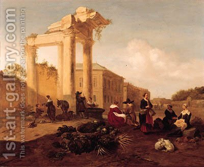 A market near a fountain by a classical ruin in an Italian piazza by Hendrik Mommers - Reproduction Oil Painting