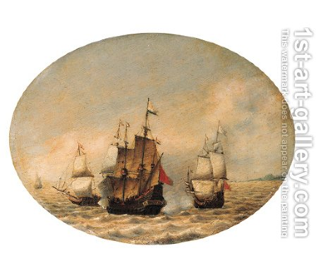 A Dutch merchantman under attack offshore by Hendrik van Anthonissen - Reproduction Oil Painting